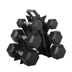 WF Athletic Supply Dumbbell Set with Storage Rack (60lb Rubber Coated Dumbbell Set)