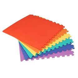 We Sell Mats Multi Color 140 Sq Ft (35 Assorted Tiles + Borders) Foam Interlocking Anti-Fatigue  ...