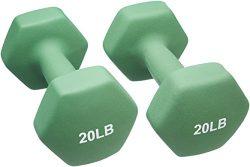 AmazonBasics Neoprene Dumbbells 20-Pound, Set of 2, Light Green
