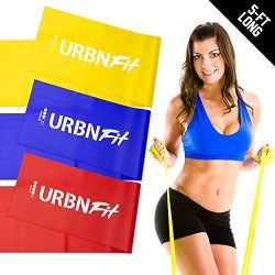 URBNFit Long Fitness Bands (5 Ft) w/Door Anchor – 3 Pack of Resistance Bands for Stretchin ...