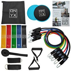 18pcs Resistance & Workout Set Includes: 5 Tube Fitness Exercise Bands | 5 Stretch Loop Band ...