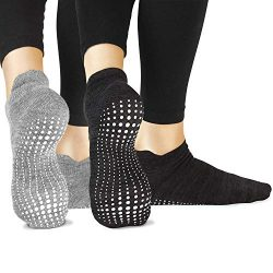 LA Active Grip Socks – 2 Pairs – Yoga Pilates Barre Ballet Non Slip Covered (Slate G ...