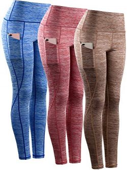 Neleus Tummy Control High Waist Workout Running Leggings for Women,9033,Yoga Pant 3 Pack,Blue,Re ...