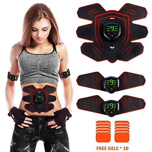 ABS Stimulator Muscle Toner Rechargeable, EMS Abdomen Muscle Trainer with 6 Modes 10 Levels, Mus ...