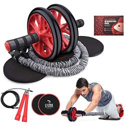 Kamileo Ab Roller Wheel, 5-in-1 Ab Roller Kit with Knee Pad, Resistance Bands, Jump Rope, Core S ...
