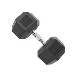 Cap Rubber Coated Hex Dumbbell Weights with Contoured Chrome Handle, Single