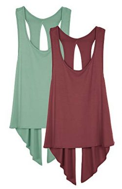 icyzone Sexy Yoga Tops Workout Clothes Racerback Tank Top for Sport Women (XL, Wine/Agate Green)