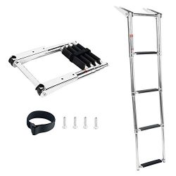 DasMarine 4 Step Ladder 316 Stainless Steel Telescoping Ladder, Telescoping Folding Over Platfor ...