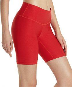 TSLA TM-FYS11-RED_X-Small Shorts 7 inches Bike Running Yoga w Hidden Pockets FYS11