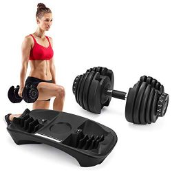 Popsport Adjustable Dumbbell Series Fitness Dumbbell Standard Adjustable Dumbbell with Handle an ...
