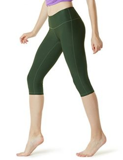 TSLA TM-FYC21-OLV_Large Yoga 17″ Capri Mid-Waist Pants w Hidden Pocket FYC21