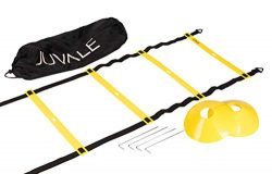 Adjustable Speed and Agility Training Set – Includes Agility Ladder, 10 Disc Cones, 4 Stee ...