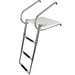 3-step Telescoping Boat Ladder with Swim Platform & Handrails