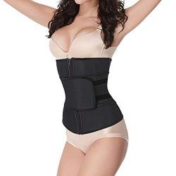 Women Waist Trainer Cincher Abdominal Belt High Compression Zipper Plus Size Latex Sweat Control ...