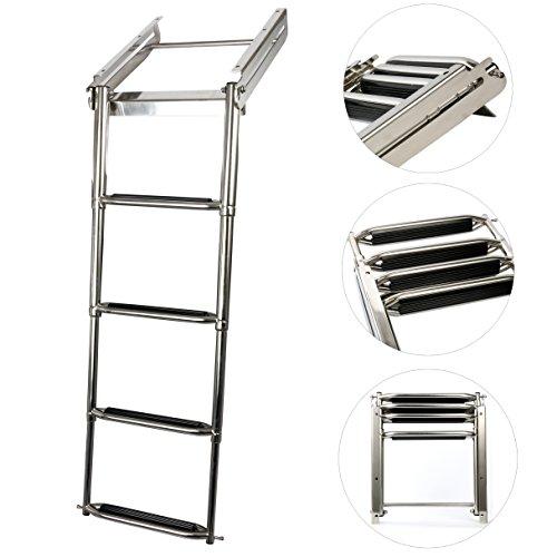 Amarine-made Stainless Steel 4-Step Telescoping Under Platform Slide Mount Boat Boarding Ladder- ...