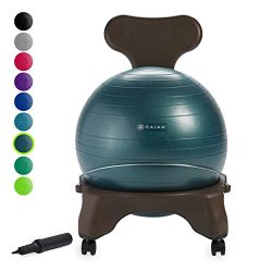 Gaiam Classic Balance Ball Chair – Exercise Stability Yoga Ball Premium Ergonomic Chair for Home ...