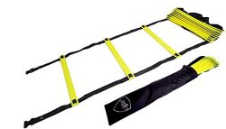 Pepup Sports Super Flat 8 Rungs Adjustable Speed Agility Ladder with Free Carry Bag, 11′