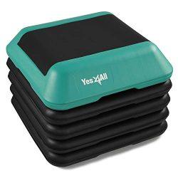 Yes4All Adjustable High Step Aerobic Platform, 16″ x 16″ Black/Green Step Platforms  ...