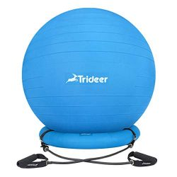 Trideer Ball Chair, Exercise Stability Yoga Ball with Base & Resistance Bands for Home and O ...