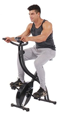 PLENY Foldable Upright Stationary Exercise Bike with 16 Level Resistance, New Exercise Monitor w ...