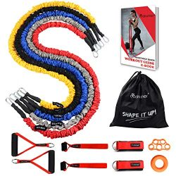 Coolrunner Resistance Bands Set, 14 PCS Workout Bands, 20lbs to 40lbs Resistance Tubes with Nylo ...