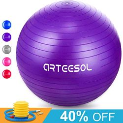 Arteesol Exercise Yoga Ball, Extra Thick Stability Ball Chair(45CM-77CM / 5 Colours), Profession ...