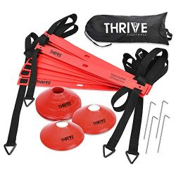 Thrive Football Speed and Agility Training Set for Soccer 15 Foot 12 Rung Agility Speed Ladder,  ...
