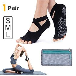 Hylaea Yoga Socks for Women with Grip & Non Slip Toeless Half Toe Socks for Ballet Pilates B ...