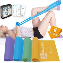 AZURE LIFE Resistance Bands Set, 4 Pack Professional Non-Latex 5 ft. Long Elastic Stretch Bands, ...