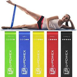 UPOWEX Resistance Bands – Set of 5 – Exercise Bands for Booty, Crossfit, Stretching, Strength Tr ...