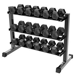 Yaheetech 3 Tier Horizontal Dumbbell Rack Multilevel Weight Storage Stand Organizer for Home Gym ...