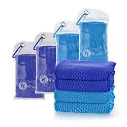 U-pick 4 Packs Cooling Towel (40″x 12″), Ice Towel,Microfiber Towel,Soft Breathable  ...
