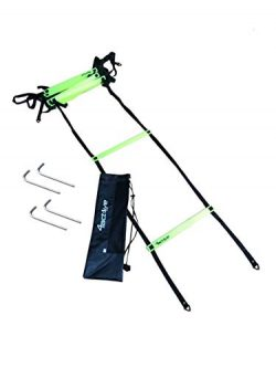 4Active Speed and Agility Training Ladder 12 Adjustable Rungs 20 Feet Including Ground Anchors a ...
