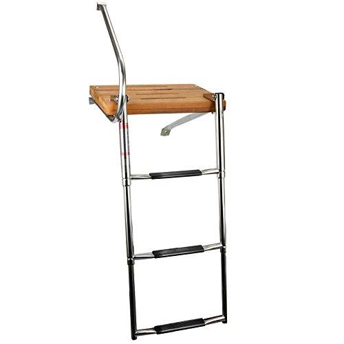 Amarine-made Boat Out-board Swim Teak Platform with 3-steps Stainless Ladder