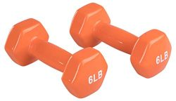 AmazonBasics Vinyl Dumbbells, 6 Pound, Set of 2