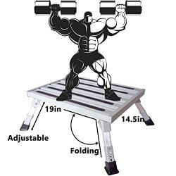 Homeon Wheels 19″ x 14.5″ Large RV Step Stool, Adjustable Height Aluminum Folding Pl ...