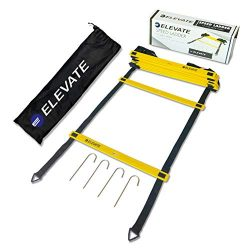 Elevate Sports Agility Ladder – 12 Fixed Rungs, Durable Nylon Straps, Carry Bag and 4 Grou ...