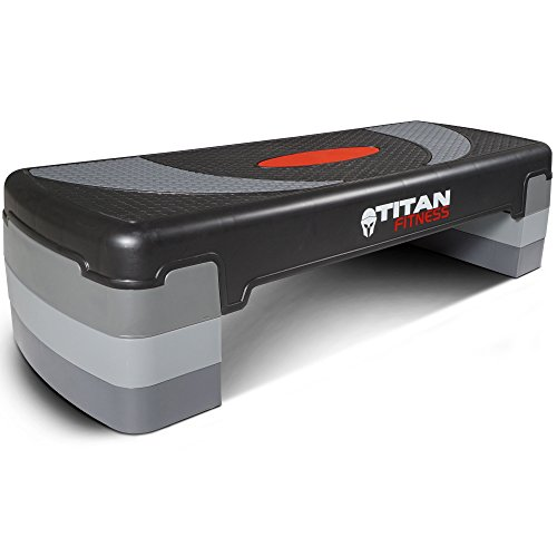 TITAN FITNESS Medium Aerobic Step 4″-8″ Step w/Risers Gym Home Exercises Workout
