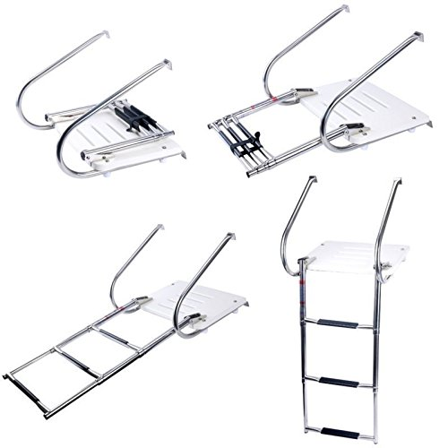 Amarine-made Boat In-board Swim Fiberglass Platform with 3-steps Stainless Ladder