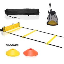 LeggBee Agility Ladder with Soccer Cones Training Set | 20Ft 12-Rung Speed Ladder | Soccer Train ...