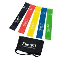 FlintFit Premium Quality Loop Exercise Bands, Set of 5