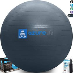 A AZURELIFE Professional Grade Exercise Ball, Anti-Burst&Non-Slip Stability Balance Ball wit ...