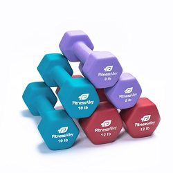 Fitness Alley Neoprene Dumbbells – Free Weights Hex Hand Weights – Dumbbell Pairs Co ...