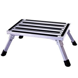 Aluminum Folding Platform Steps RV Step Stool with Anti-Slip Surface & Rubber Feet for Motor ...
