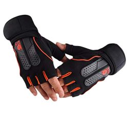 Kmtar Men Women Sports Gym Gloves Half Finger Breathable Weightlifting Fitness Gloves Dumbbell W ...