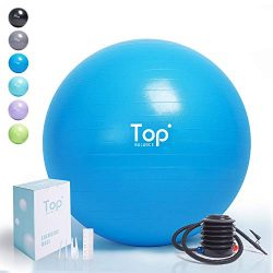 Top Balance Anti-Burst Exercise Ball (Blue, 75cm), Extra Thick Construction Supports up to 1000  ...