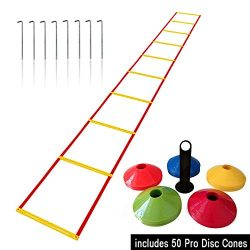 Agility Ladder and Cones – 50 Field Cones – 12 Rung Speed Ladder