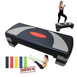 SURPCOS 32′ Adjustable Workout Aerobic Steppers for Exercise & Fitness, 4″ ̵ ...