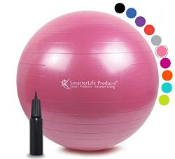 Exercise Ball for Yoga, Balance, Stability from SmarterLife – Fitness, Pilates, Birthing,  ...