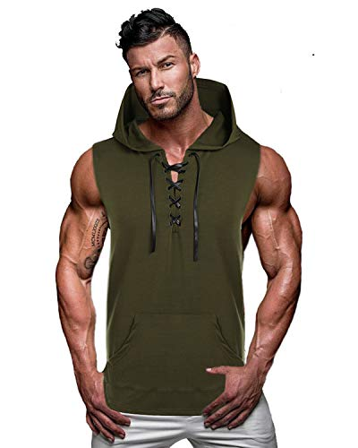 COOFANDY Men's Workout Hooded Tank Tops Sleeveless Gym Hoodie Cut Off T Shirt Lace-up Body ...